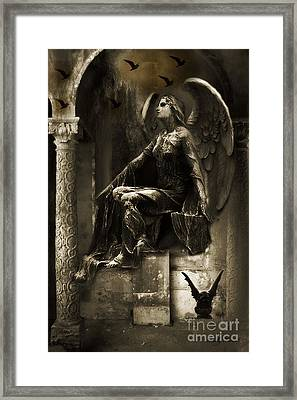 Surreal Paris Gothic Angel Gargoyle Ravens Fantasy Art Framed Print by Kathy Fornal