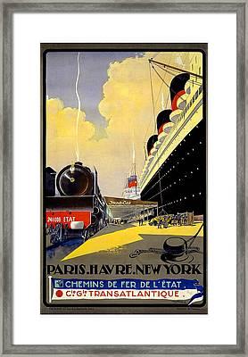 Paris Havre New York Travel Poster Framed Print