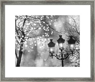 Paris Christmas Sparkle Lights Street Lanterns - Paris Holiday Street Lamps Black And White Lights Framed Print by Kathy Fornal