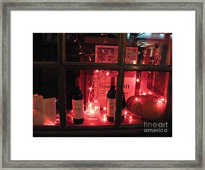 Paris Holiday Christmas Wine Window Display - Paris Red Holiday Wine Bottles Window Display  Framed Print by Kathy Fornal