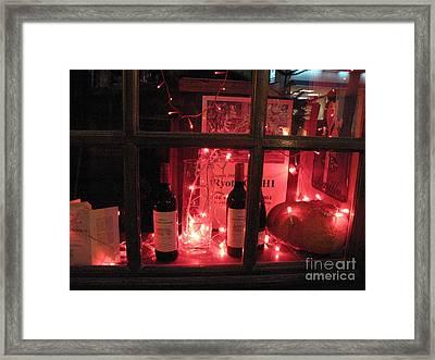 Paris Holiday Christmas Wine Window Display - Paris Red Holiday Wine Bottles Window Display  Framed Print by Kathy Fornal