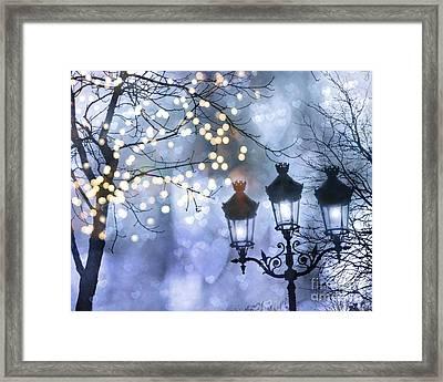 Paris Holiday Magical Sparkling Twinkling Lights - Paris Sparkling Street Lanterns Framed Print by Kathy Fornal
