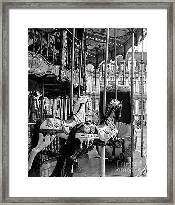 Paris Hotel Deville Carousel Horses - Paris Black White Carousel Horses Merry Go Round Carousel  Framed Print