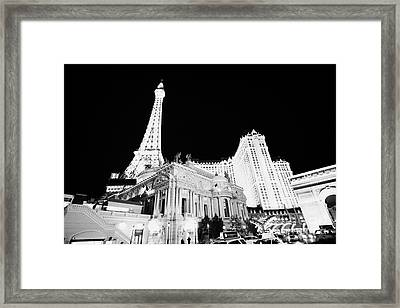 Paris Hotel And Casino At Night Las Vegas Nevada Usa Framed Print