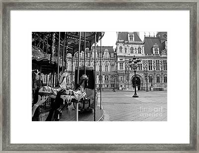 Paris Hotel Deville Black And White Photography - Paris Carousel Merry Go Round At Hotel Deville  Framed Print