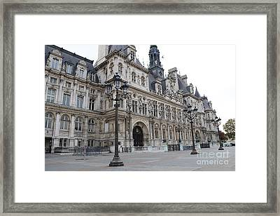 Paris Hotel De Ville Ornate Building - Paris Hotel Deville Architecture  Framed Print by Kathy Fornal