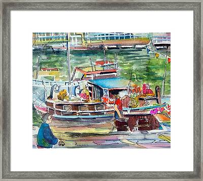 Paris House Boat Framed Print by Mindy Newman