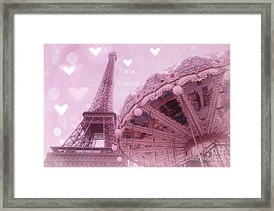 Paris In Love - Paris Amour With Hearts - Eiffel Tower Lavender Hearts Carousel Print - Paris Amour Framed Print by Kathy Fornal