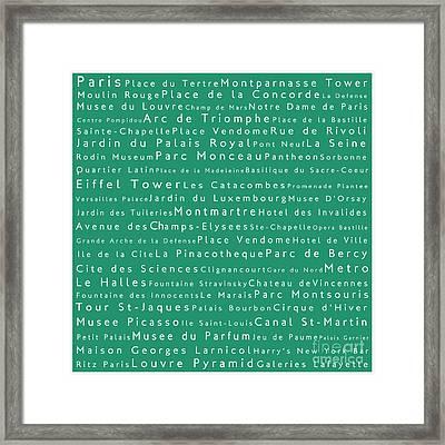 Paris In Words Algae Framed Print