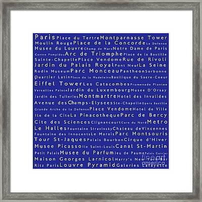 Paris In Words Blue Framed Print
