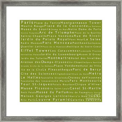 Paris In Words Olive Framed Print
