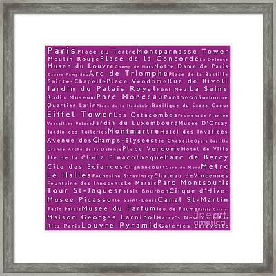 Paris In Words Pink Framed Print