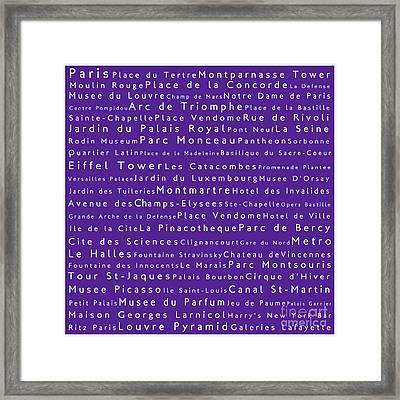 Paris In Words Purple Framed Print