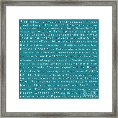 Paris In Words Teal Framed Print