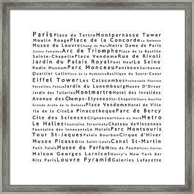 Paris In Words White Framed Print