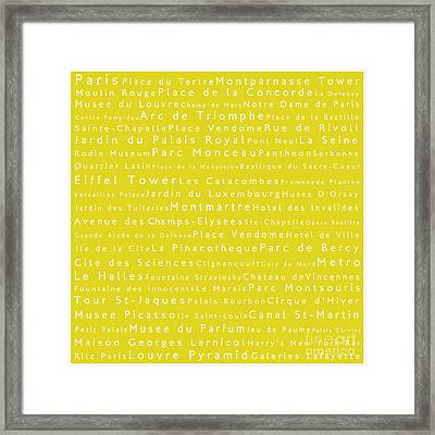 Paris In Words Yellow Framed Print