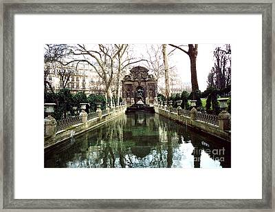 Paris Jardin Du Luxembourg Gardens - Medici Fountain Sculpture Monuments Park  Framed Print by Kathy Fornal