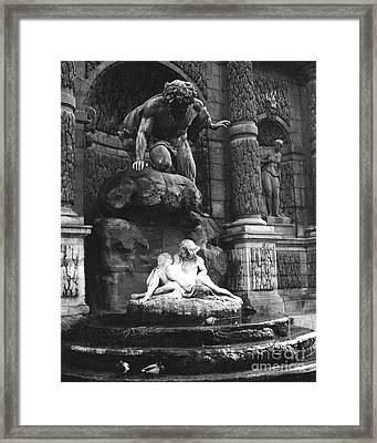 Paris Jardin Du Luxembourg Gardens- The Medici Fountain - Paris Romantic Sculptures Monuments Framed Print by Kathy Fornal