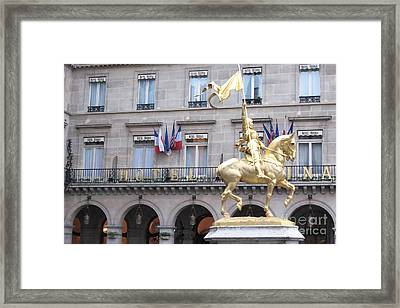 Paris Joan Of Arc Statue In Front Of Hotel Regina  - Joan Of Arc Monument Statue  Framed Print by Kathy Fornal