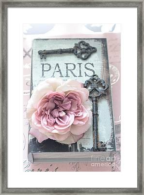 Paris French Key Art - Paris Romantic Pink Roses And Vintage Paris Keys - Paris Shabby Chic Key Art Framed Print