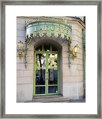 Paris Laduree Fine Art Door Print - Paris Laduree Green And Gold Door Sign With Lanterns Framed Print by Kathy Fornal