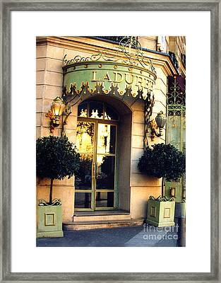 Paris Laduree French Bakery Patisserie - Champs Elysees Location Framed Print by Kathy Fornal
