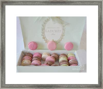 Paris Laduree Pastel Macarons - Paris Laduree Box - Paris Dreamy Pink Macarons - Laduree Macarons Framed Print