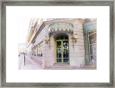 Paris Laduree Patisserie Bakery Tea Shop - Paris Pink Pastel Laduree Architecture  Framed Print by Kathy Fornal