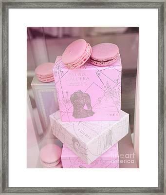 Paris Laduree Pink Box - Paris Laduree Pink Macarons - Paris Laduree Pink Pastel Window Display  Framed Print by Kathy Fornal