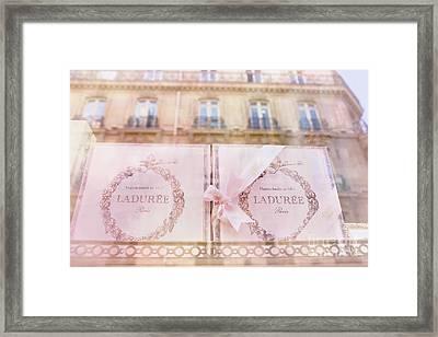 Paris Laduree Pink Boxes Wndow Display - Paris Laduree Macaron Shop Dreamy Pink Boxes Art Framed Print by Kathy Fornal