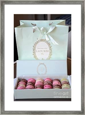 Paris Laduree Macarons - Dreamy Laduree Box Of French Macarons With Laduree Bag  Framed Print