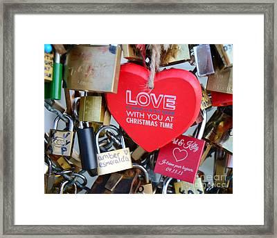 Paris Locks Of Love Padlocks And Red Valentine Love Heart - Paris Locks Of Love Over The River Seine Framed Print by Kathy Fornal