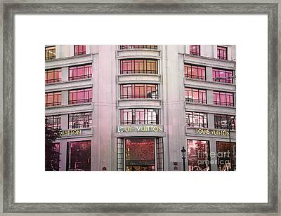 Paris Louis Vuitton Boutique Fashion Shop On The Champs Elysees Framed Print by Kathy Fornal