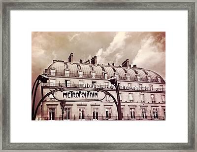 Paris Louvre Metropolitain Sign At The Hotel Du Louvre - Paris Metro Sepia Art Deco Sign Framed Print by Kathy Fornal