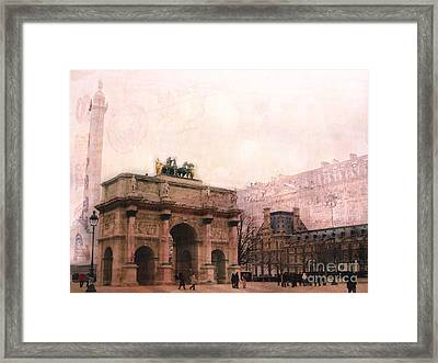 Paris Louvre Museum Arc De Triomphe Architecture Buildings - Watercolor Paris Landmarks Framed Print