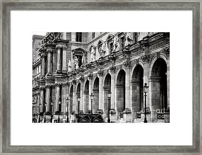Paris Louvre Museum Architecture Street Lamps Lanterns - Louvre Museum Black And White  Framed Print