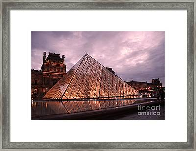 Paris Louvre Museum Dusk Twilight Night Lights - Louvre Pyramid Triangle Night Lights Architecture  Framed Print