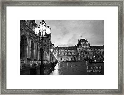 Paris Louvre Museum Lanterns Lamps - Paris Black And White Louvre Museum Architecture Framed Print by Kathy Fornal