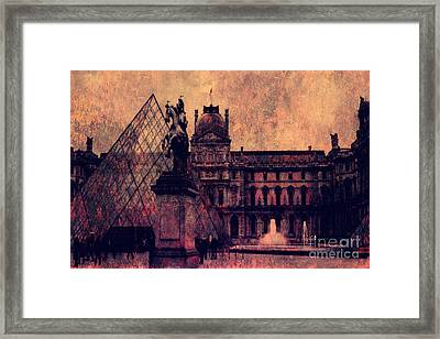 Paris Louvre Museum - Musee Du Louvre - Louvre Pyramid  Framed Print by Kathy Fornal