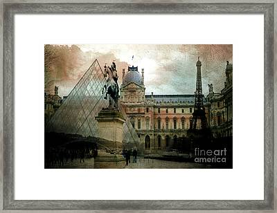 Paris Louvre Museum Pyramid Architecture - Eiffel Tower Photo Montage Of Paris Landmarks Framed Print by Kathy Fornal