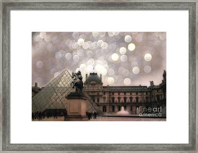 Paris Louvre Museum Pyramid - Dreamy Louvre Museum And Pyramids Framed Print