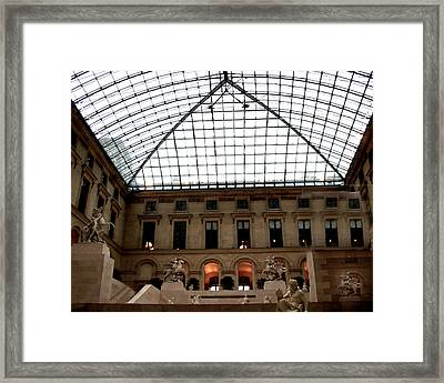 Paris - Louvre Museum Pyramid - Louvre Sky Pyramid Sculpture Statues Framed Print