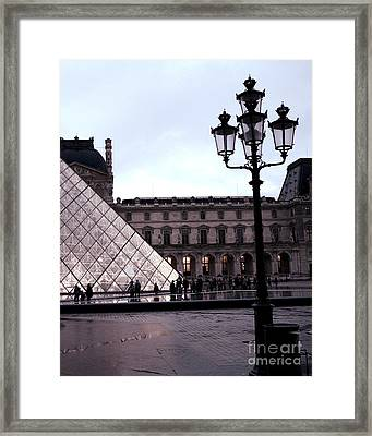 Paris Louvre Museum Pyramid - Paris At Dusk Evening - Paris Street Lamps Lanterns At Louvre Framed Print by Kathy Fornal