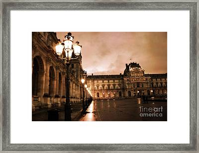 Paris Louvre Museum Sepia Night Lights Street Lamps - Paris Sepia Louvre Museum Night Photography Framed Print by Kathy Fornal