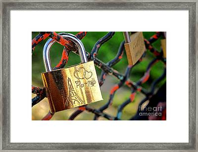 Paris Love Lock Framed Print by Olivier Le Queinec