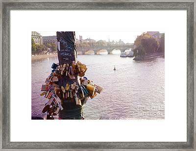 Paris Love Locks Pont Des Arts Bridge  -  Paris Lovers Padlocks Overlooking Seine River  Framed Print by Kathy Fornal