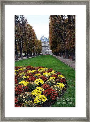 Paris Luxembourg Gardens And Trees - Luxembourg Gardens Parks Autumn - Paris Fall Autumn Colors Framed Print by Kathy Fornal