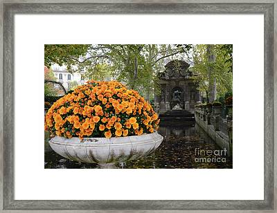 Paris Luxembourg Gardens Autumn Fall Landscape - Medici Fountain Autumn Fall Flowers  Framed Print by Kathy Fornal