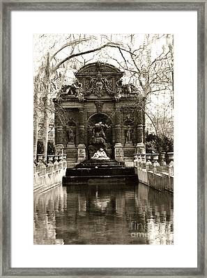 Paris Luxembourg Gardens Sepia - Jardin Du Luxembourg Gardens - Medici Fountain Framed Print by Kathy Fornal