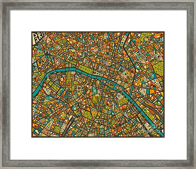 Paris Map Framed Print by Jazzberry Blue